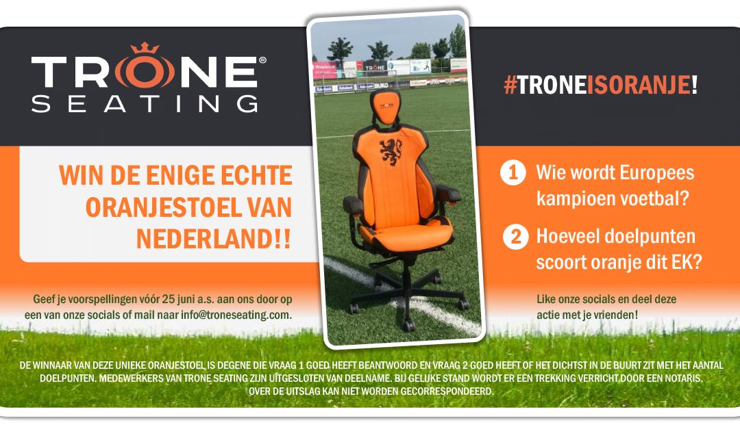 Unieke uitvoering Oranjestoel te winnen bij Trone Seating!